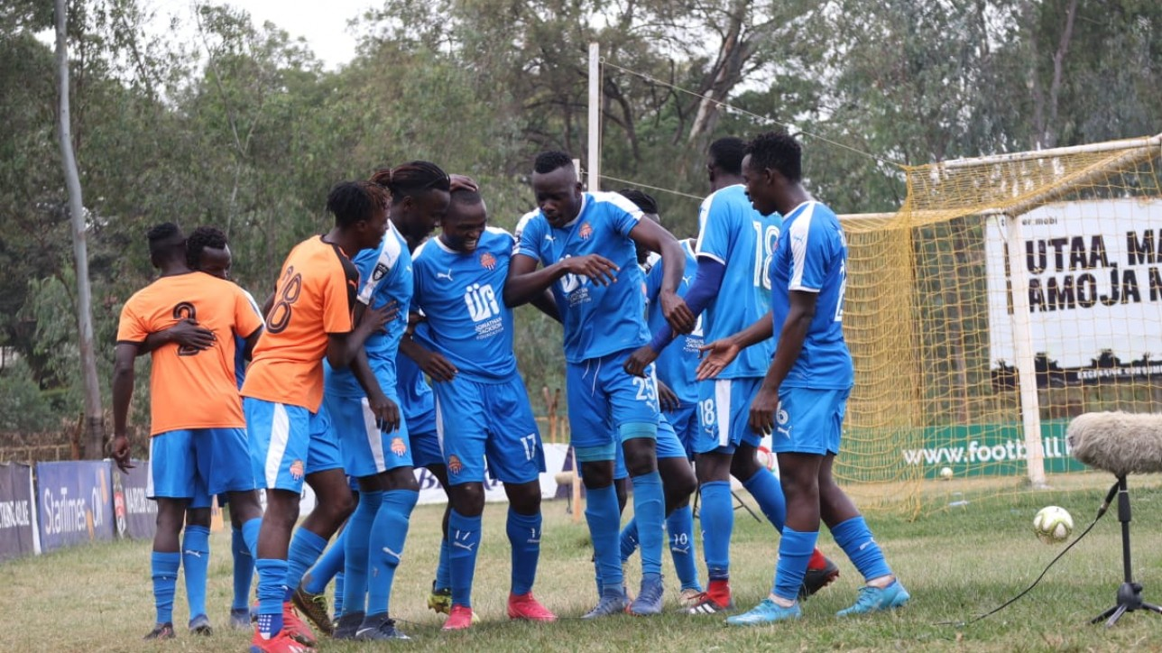 Nicholas Kipkirui surrounded by City Stars players after his first-ever premier league goal earned Simba wa Nairobi a 1-0 win over Kakamega Homeboyz on Sat 19 June 2021 at Ruaraka during a matchday 21 tie