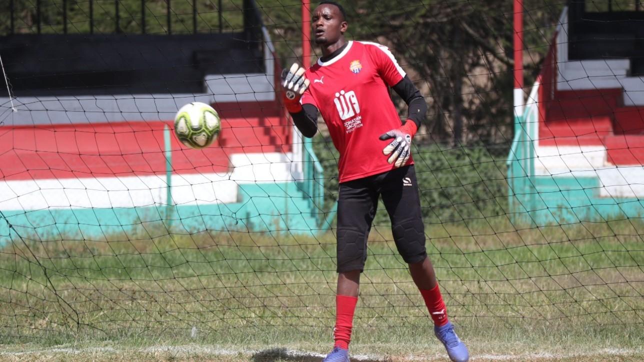 Nairobi City Stars keeper Steve Njunge warming up ahead of a round 22 Premier League game against Nzoia United at the Narok Stadium on Fri 25 June 2021