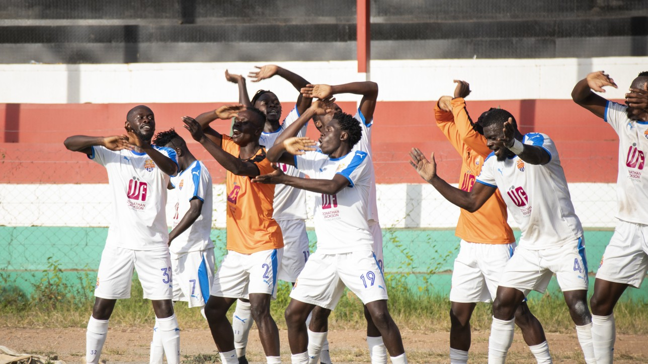 City Stars players celebrate a long goal by Rodgers Okumu that earned a 1-0 win over Nzoia United at Narok Stadium on Fri 25 June 2021
