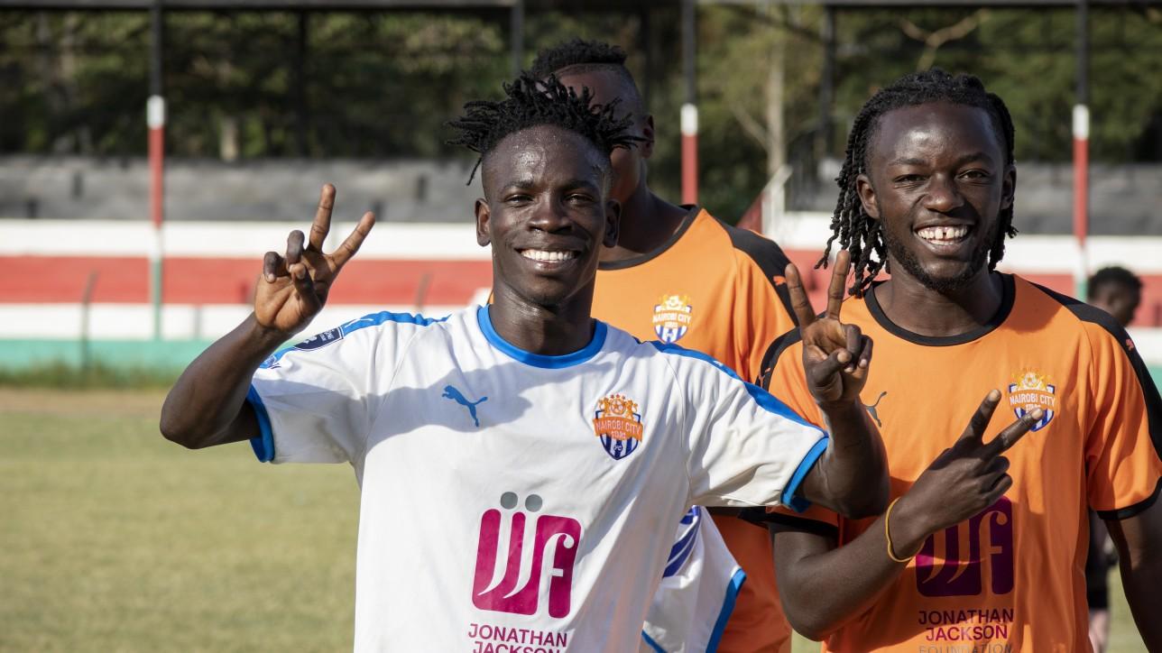 Match winner Rodgers 'Okuse' Okumu celebrates his winning goal with Oliver Maloba in Narok after a Nzoia United - Nairobi City Stars match on Fri 25 June 2021