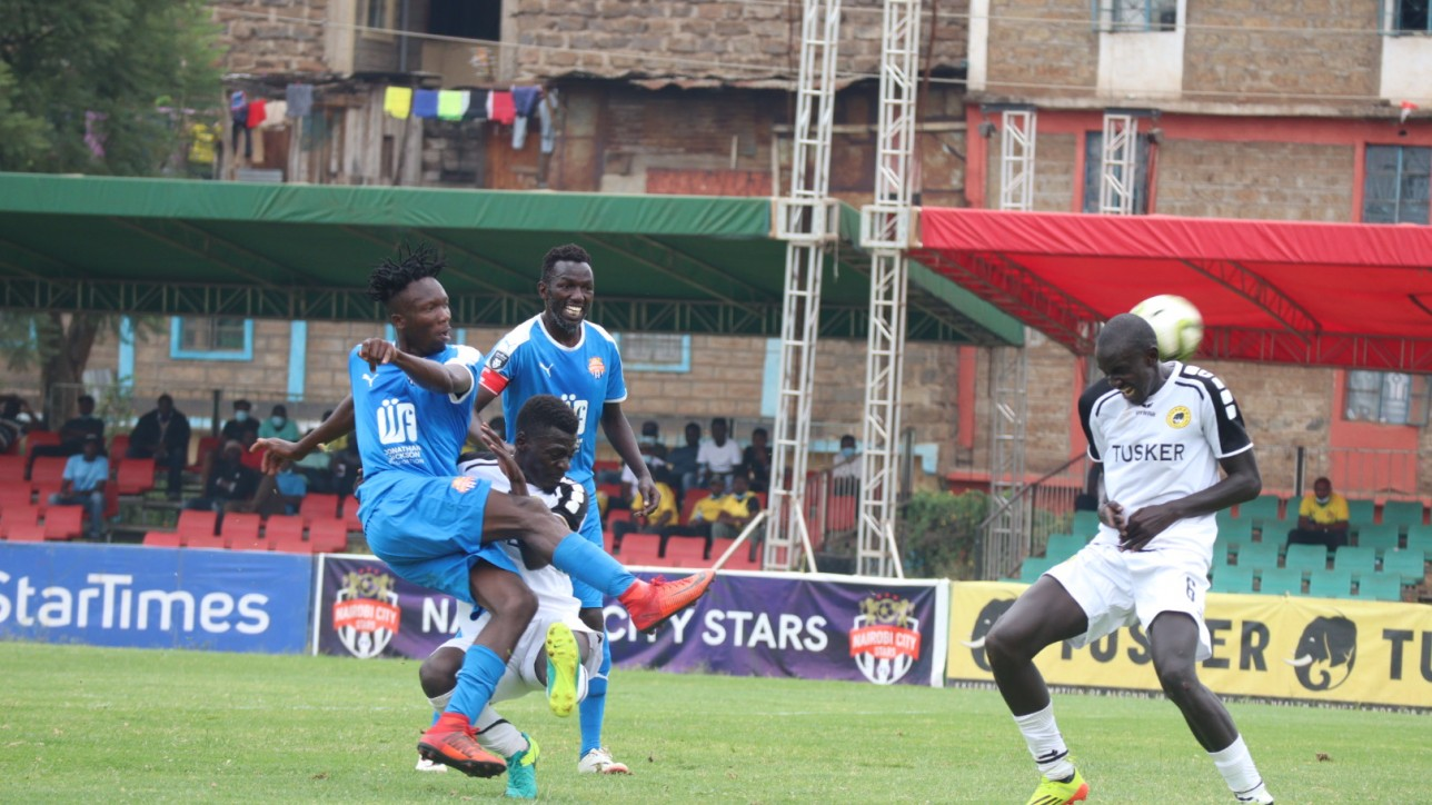 Nairobi City Stars striker Erick Ombija supported by skipper Anthony Kimani during a first leg clash against Tusker at Utalii on 21 March 2021.The game ended 2-2