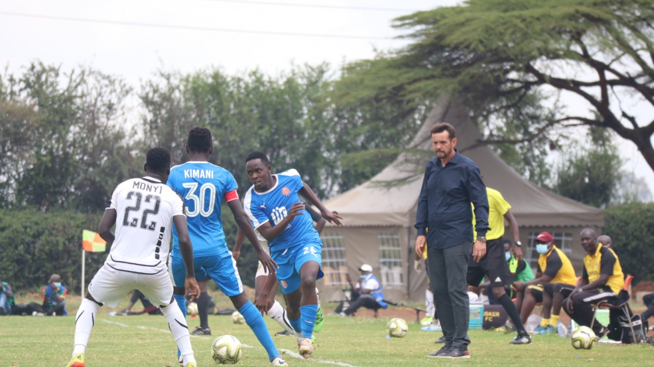 Nairobi City Stars left back Bolton Omwenga supported by skipper Anthony Muki Kimani during a first leg clash against Tusker at Utalii on 21 March 2021.The game ended 2-2