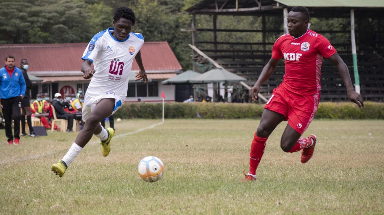 Kevin Okumu goes for the ball with Ulinzi Stars' John Njuguna during a matchday 25 Betking Premier League tie at the ASK Showground in Nakuru on Sat 10 Jul 2021. Nairobi City Stars won the game 2-0