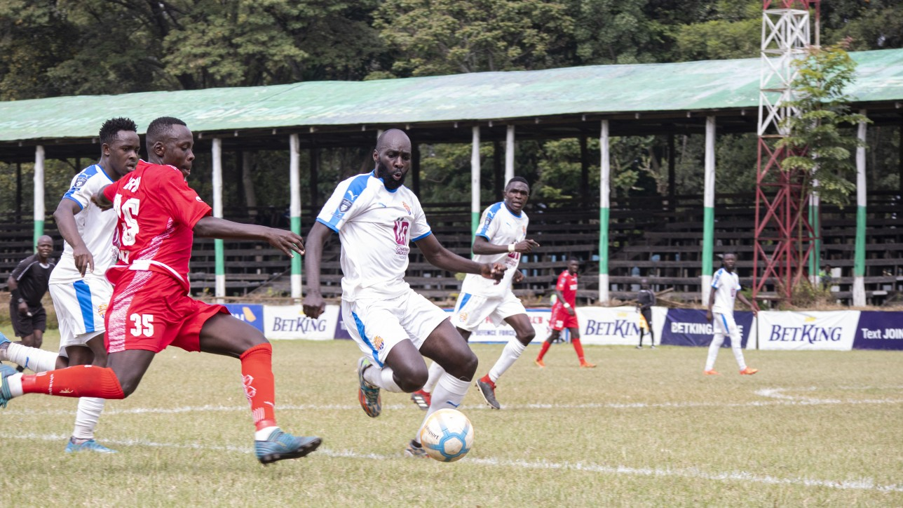 Nairobi City Stars stopper Wycliffe 'Wiked' Otieno challenges Ulinzi Stars right back Brian Birgen to the ball during a Betking Premier League match day 25 on Sat 17 Jul 2021 at the ASK Showground. City Stars won 2-0