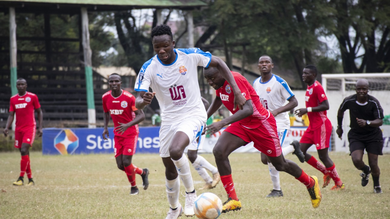 Striker Erick Ombija on the ball against Ulinzi Stars during a matchday 25 Betking Premier League tie at the ASK Showground in Nakuru on Sat 10 Jul 2021. Nairobi City Stars won the game 2-0