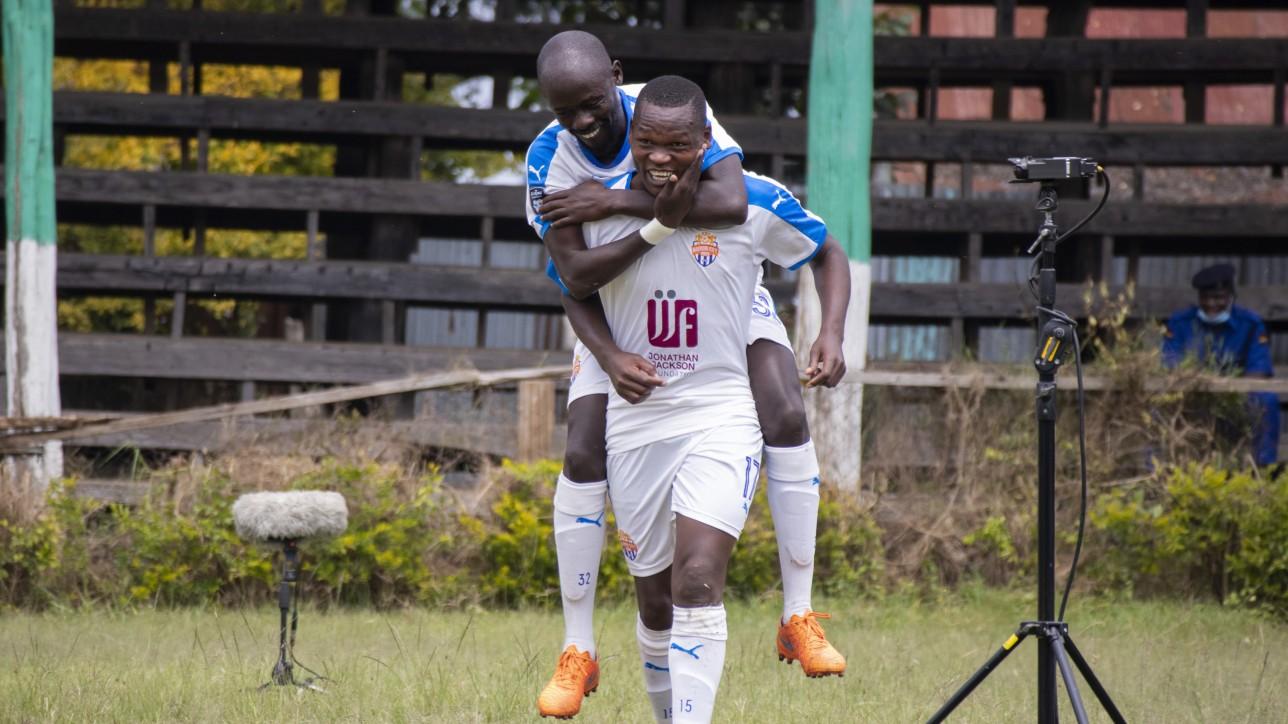 City Stars striker Nicholas Kipkirui celebrates his opening goal against Ulinzi Stars at the ASK Showground on Sat 10 Jul 2021. City Stars won the round 24 Premier League game 2-0