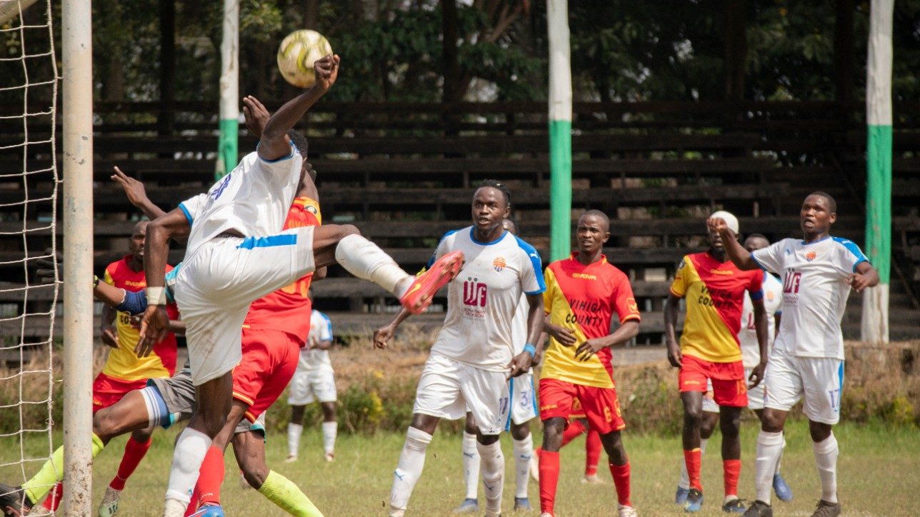City Stars attempts a header during a round 27 Premier League tie against Vihiga United at the ASK Showground in Nakuru on Wed 21 July 2021. The tie ended 0-0