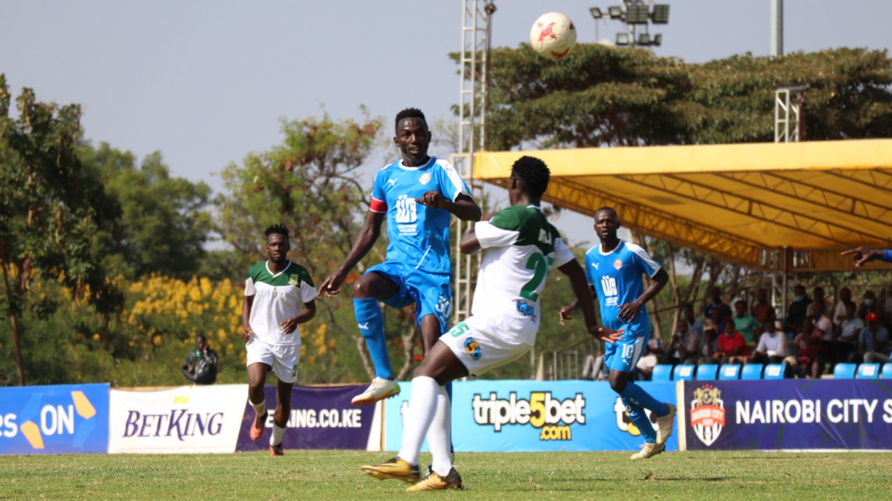Anthony Kimani of Nairobi City Stars in a game against Mathare United on Tue 2 March 2021 at Kasarani Annex. City Stars won 2-0