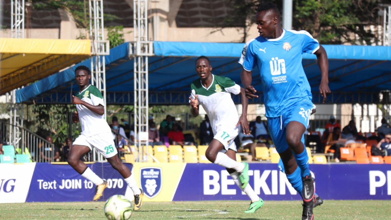 Timothy Ouma of Nairobi City Stars in a game against Mathare United on Tue 2 March 2021 at KAsarani Annex. City Stars won 2-0