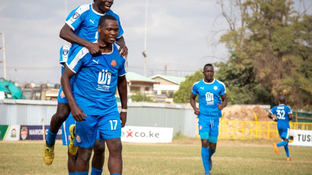 Nicholas Kipkirui celebrates a second goal for Nairobi City Stars in a round 30 game played in Ruaraka on Tue 3 Aug 2021. City Stars won the game 2-1