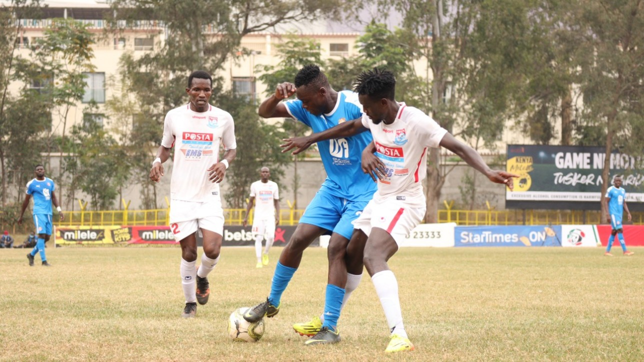 Nairobi City Stars attacking mid Timothy Babu Ouma on the ball during the a round 32 clash against Posta Rangers in Ruaraka on Sat 14 Aug 2021. It ended 2-2