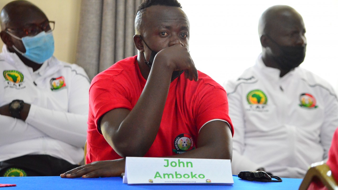Nairobi City Stars coach John Amboko during the opening of CAF B course at KISE on Mon 6 Sept 2021