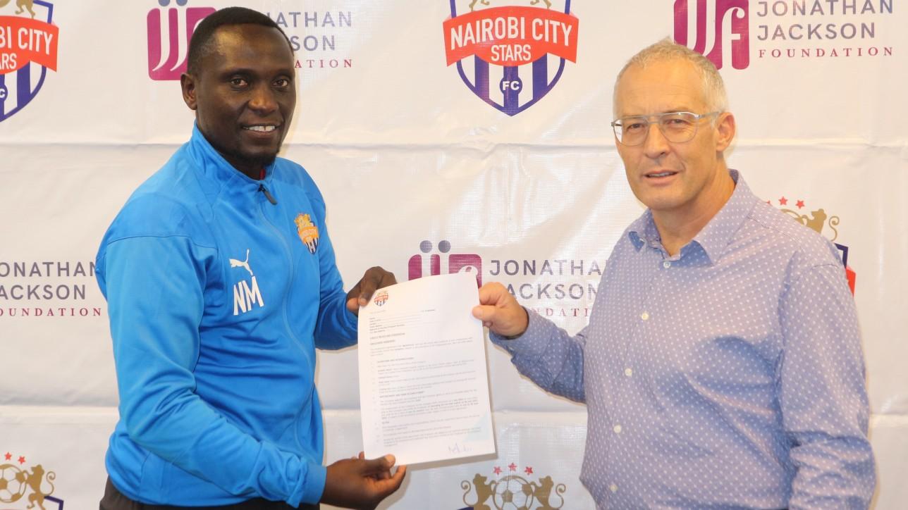 Nicholas Muyoti being unveiled as the new Nairobi City Stars coach by club chair Jonathan Jackson